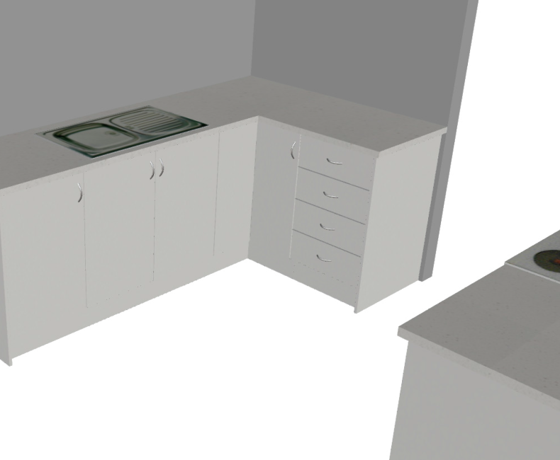 Galley with return Small (3D1)
