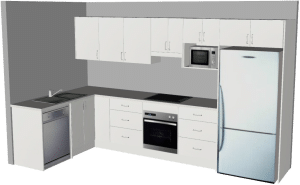 L Shape Kitchen - 3D - Medium