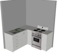 L Shape Kitchen - 3D - Small