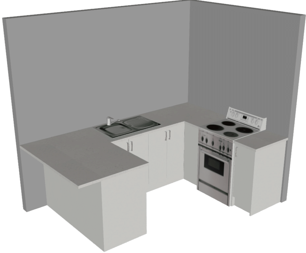 L Shape With Breakfast Bar Small 3D1